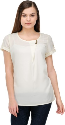 Lmode Casual Short Sleeve Solid Women's White Top