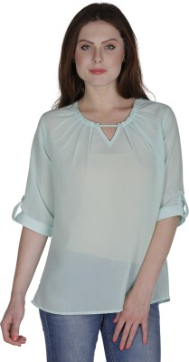 Eva De Moda Casual 3/4 Sleeve Solid Women's Light Green Top