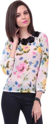 Sassafras Casual 3/4th Sleeve Printed Women's Multicolor Top at flipkart