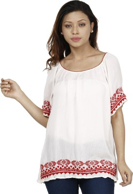 Miway Casual Short Sleeve Solid Women's White, Red Top
