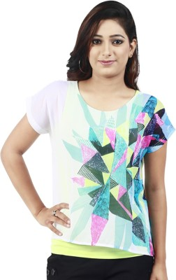 Maggie Casual Short Sleeve Graphic Print Women's Multicolor Top