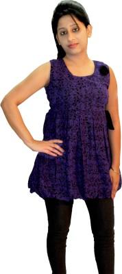 Shonaa Casual Sleeveless Printed Women's Purple Top