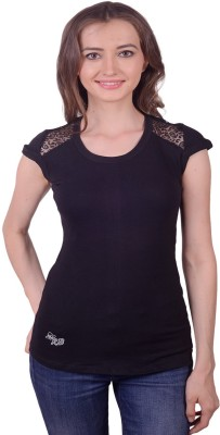Lee Marc Casual Short Sleeve Solid Women's Black Top