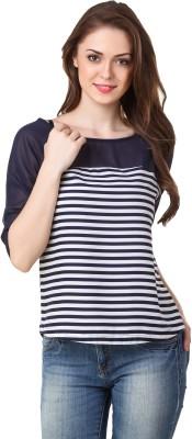 BrandMeUp Casual, Party, Formal, Beach Wear, Festive, Lounge Wear 3/4 Sleeve Striped Women's Blue Top