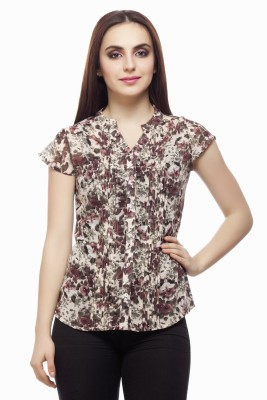 Miss Queen Casual Cape Sleeve Printed Women's Multicolor Top