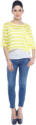 Designeez Casual Short Sleeve Striped Women's Yellow Top