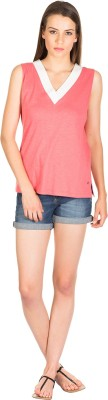 Miss Chick Casual Sleeveless Solid Women's Pink Top