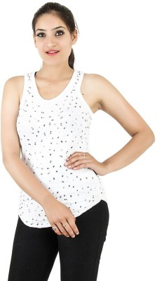 Opiumstreet Party Sleeveless Embellished Women's White Top