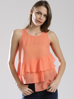 Dressberry Casual Sleeveless Solid Women's Blue Top at flipkart