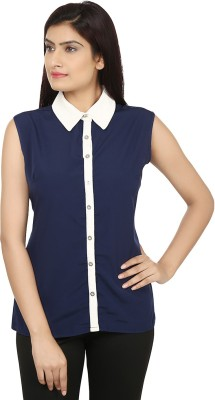 Bhane Casual 3/4 Sleeve Solid Women's White, Blue Top
