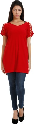 Holidae Casual Short Sleeve Solid Women's Red Top