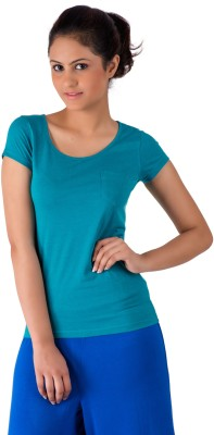 De Moza Casual Short Sleeve Solid Women's Blue Top