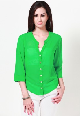 Tops and Tunics Casual 3/4 Sleeve Solid Women's Green Top