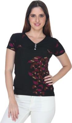 Fast n Fashion Casual Short Sleeve Geometric Print Women's Black Top