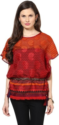 Glam & Luxe Casual Cape Sleeve Printed Women's Red Top