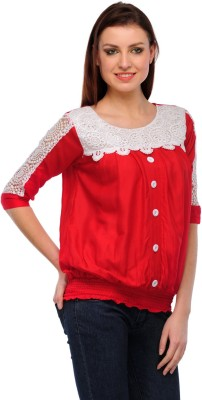 GUDS Casual 3/4 Sleeve Solid Women's Red Top