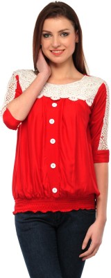 Dolla Casual, Festive, Formal, Lounge Wear, Party, Sports, Wedding Short Sleeve Self Design Women's Red Top