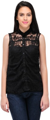 Fashion Hut Casual Sleeveless Embroidered Women's Black Top