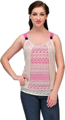 Samayra Casual Sleeveless Woven Women's Pink, White Top