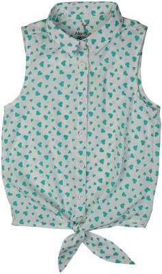 Allen Solly Casual Sleeveless Printed Girl's Green Top