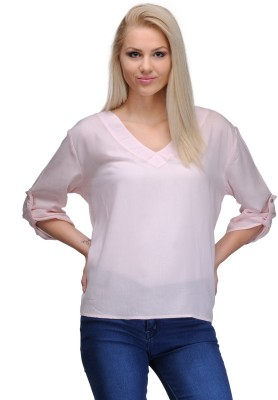 Curvy Q Casual Roll-up Sleeve Solid Women's Pink Top