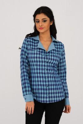 Moda Vastra Formal Full Sleeve Checkered Women's Blue Top