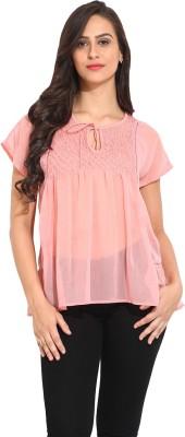 Ama Bella Casual Short Sleeve Solid Women's Pink Top