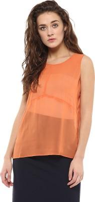Avirate Casual Sleeveless Solid Women's Orange Top