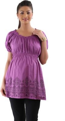 Kriti Western Maternity Casual Puff Sleeve Printed Women's Purple Top