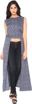 AATMIK Casual Sleeveless Printed Women's Blue Top