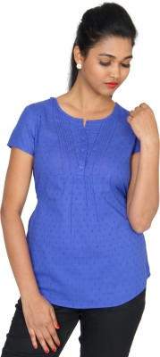 Clodentity Casual Short Sleeve Self Design Women's Blue Top