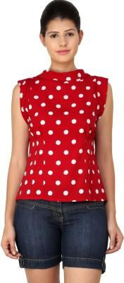 StyleToss Casual Sleeveless Polka Print Women's Red Top