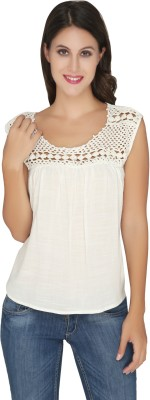 Philigree Casual Sleeveless Solid Women,s White Top