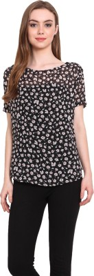 Desi Urban Casual Short Sleeve Printed Women's Black Top