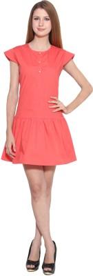 Eva De Moda Casual Cap sleeve Solid Women's Orange Top