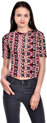 I Know Casual Short Sleeve Printed Women,s Red Top