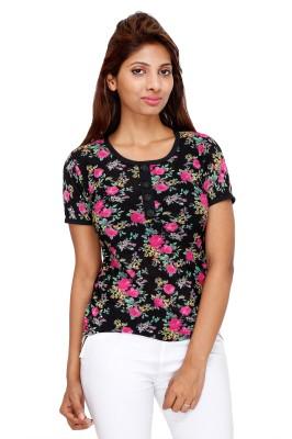 Kiez Casual Short Sleeve Printed Women's Multicolor Top