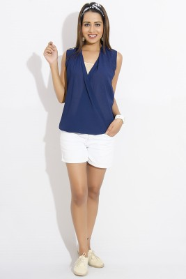 IDK Casual Sleeveless Solid Women's Dark Blue Top