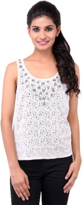 Zachi Casual Sleeveless Self Design Women's White Top