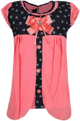 Jazzup Casual Short Sleeve Embellished Girl's Pink Top