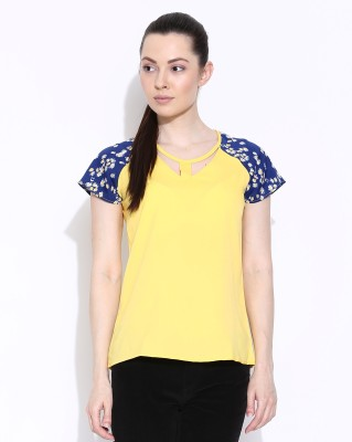 Popnetic Casual Short Sleeve Solid Women's Yellow Top