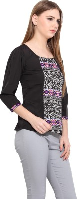 Desi Urban Casual Sleeveless Printed Women's Black Top
