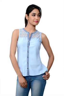 Lamora Casual Sleeveless Embroidered Women's Blue Top
