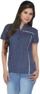 FASHIONWARDROBE Casual Short Sleeve Polka Print Women,s Dark Blue Top
