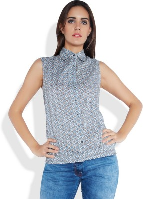 Park Avenue Formal Sleeveless Printed Women's Blue Top