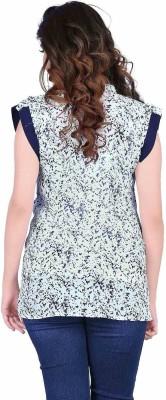 Aasvaa Casual Sleeveless Printed Women's Light Blue Top