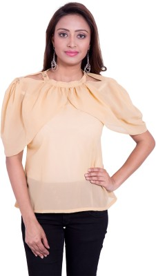 Fbbic Casual Short Sleeve Solid Women's Beige Top