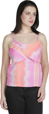 Ashtag Party, Casual Sleeveless Printed Women's Multicolor Top