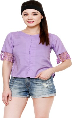 AT BY TARUNA Casual Short Sleeve Solid Women's Purple Top