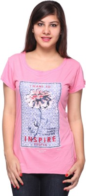 Strawberry Girl Casual Short Sleeve Printed Women,s Pink Top